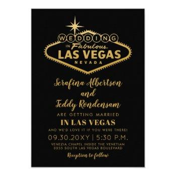 gold las vegas fabulous destination wedding invitation