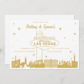 gold las vegas skyline wedding invitation
