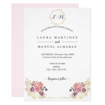 gold lavenderblush floral wedding invitation