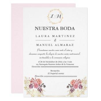 gold lavenderblush floral wedding spanish invitation