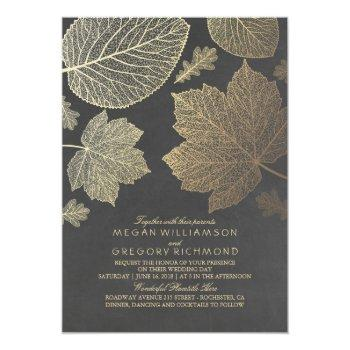 gold leaves vintage rustic fall wedding invitation