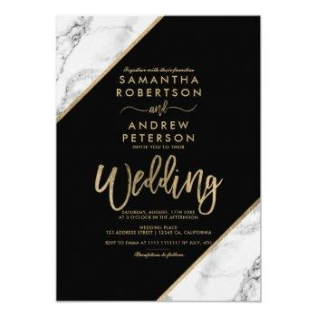 gold marble stripes typography black wedding invitation