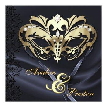 gold masquerade black jeweled wedding invitation