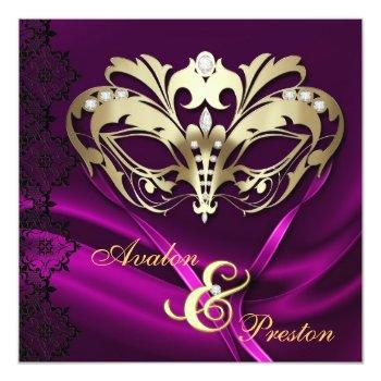 gold masquerade pink jeweled wedding invitation