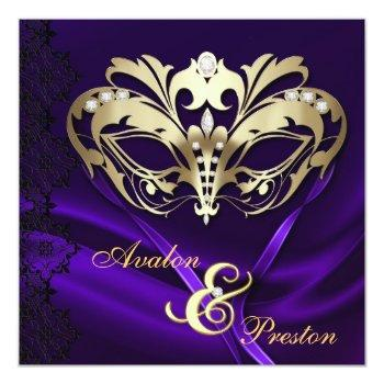 gold masquerade purple jeweled wedding invitation