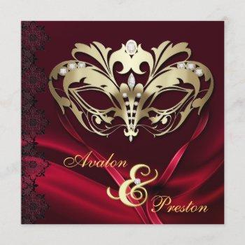 gold masquerade red jeweled wedding invitation