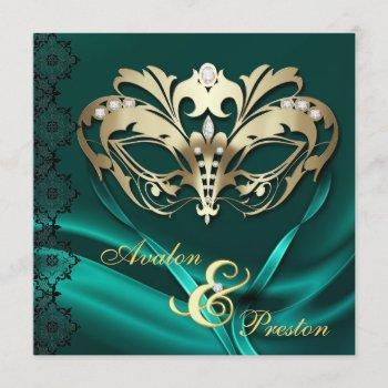 gold masquerade teal jeweled wedding invitation