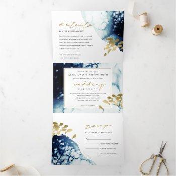 gold navy underwater sea fish watercolor wedding t tri-fold invitation