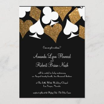 gold on black las vegas wedding invitation