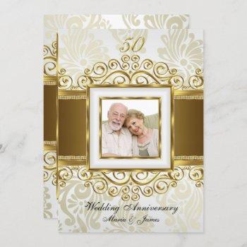 gold & pearl swirl damask photo 50th anniversary invitation
