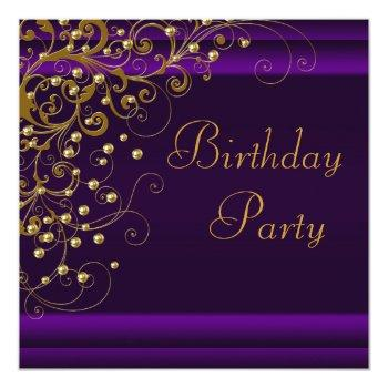 gold pearl swirl womans purple birthday party invitation