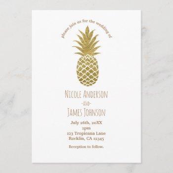 gold pineapple white modern chic tropical wedding invitation