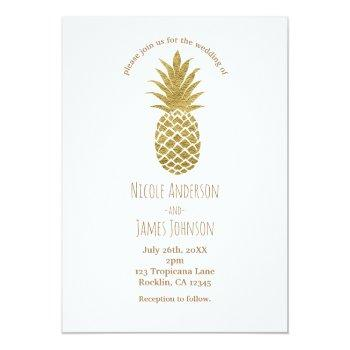 gold pineapple white modern chic tropical wedding invitation