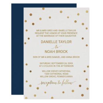 gold polka dots formal wedding invitation