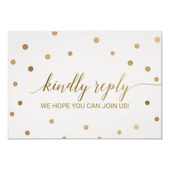 gold polka dots wedding website rsvp invitation