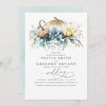 gold pumpkins and succulents greenery fall wedding invitation