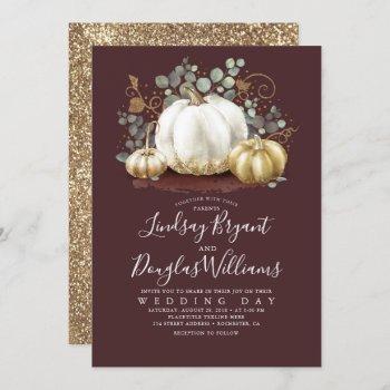 gold pumpkins rustic burgundy red fall wedding invitation
