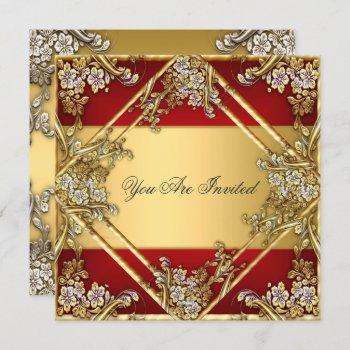 gold red floral frame party invitation gold red