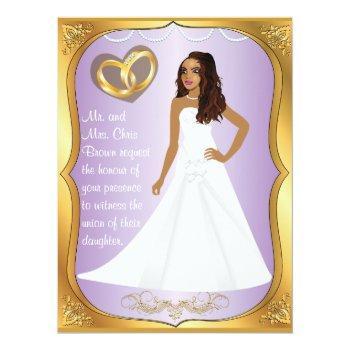 gold rings bride heart lavender wedding invitation