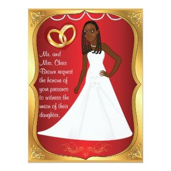 gold rings bride heart & red blue wedding invite