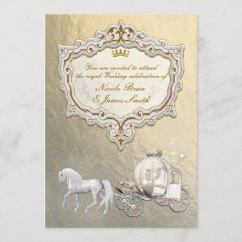 gold royal princess storybook carriage & unicorn invitation