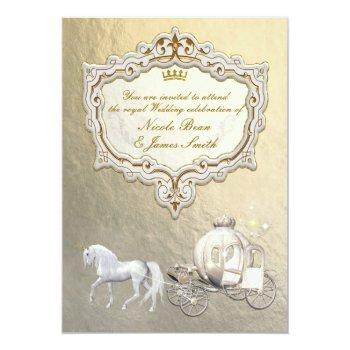 gold royal princess storybook carriage & unicorn invitation