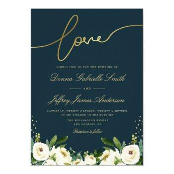 gold script white garden floral navy wedding invitation