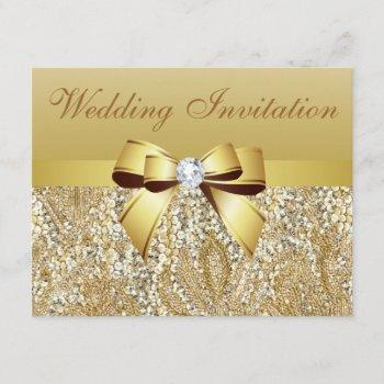 gold sequins, bow & diamond wedding invitation