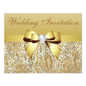 gold sequins, bow & diamond wedding invitation