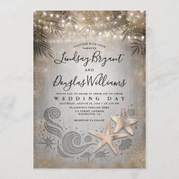 gold starfish couple tropical beach wedding invitation