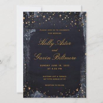 gold starry night wedding invitation
