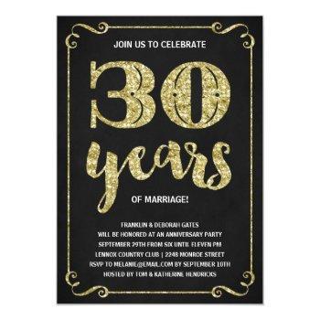 gold typography | faux foil 30th anniversary invitation