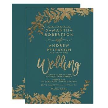 gold typography leaf floral green teal wedding invitation