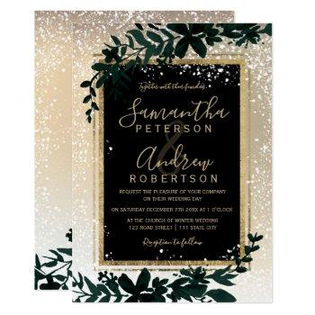 gold typography leaf snow elegant winter wedding invitation