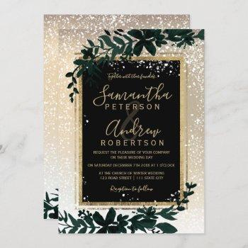 gold typography leaf snow elegant winter wedding invitation