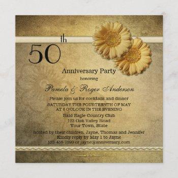gold vintage daisy flowers anniversary invitation