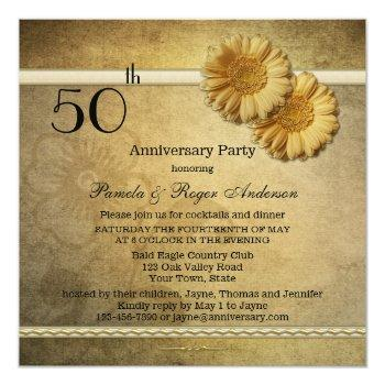 gold vintage daisy flowers anniversary invitation