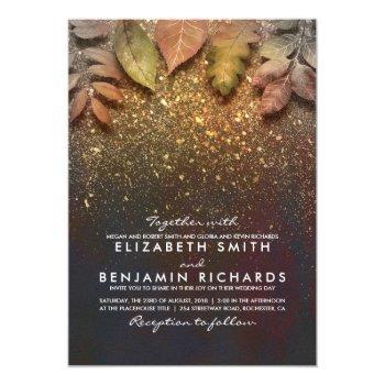 gold vintage fall leaves elegant wedding invitation