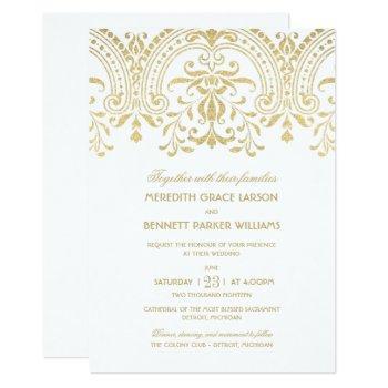gold vintage glamour wedding invitation