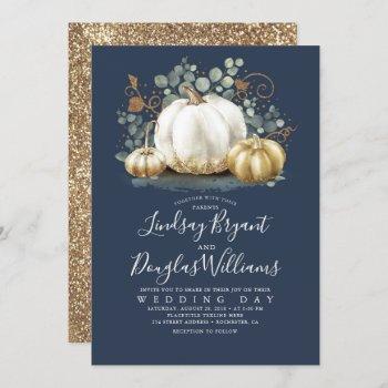 gold white pumpkins rustic navy blue fall wedding invitation