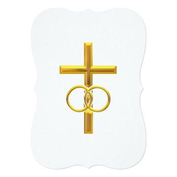 golden 3-d cross with wedding rings invitation