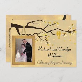 golden anniversary love birds invitation