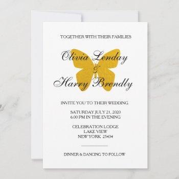 golden butterfly - faux foil wedding invitation