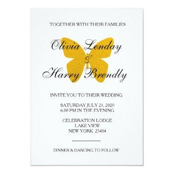 golden butterfly - faux foil wedding invitation