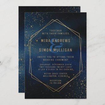 golden galaxy wedding invitation