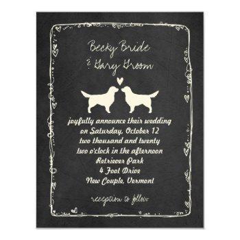 golden retriever silhouettes wedding invitation