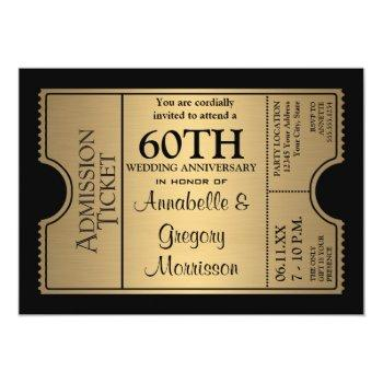 golden ticket style 60th wedding anniversary party invitation