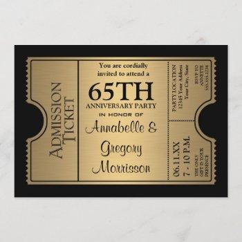 golden ticket style 65th wedding anniversary party invitation