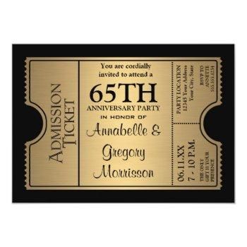 golden ticket style 65th wedding anniversary party invitation