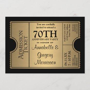 golden ticket style 70th wedding anniversary party invitation